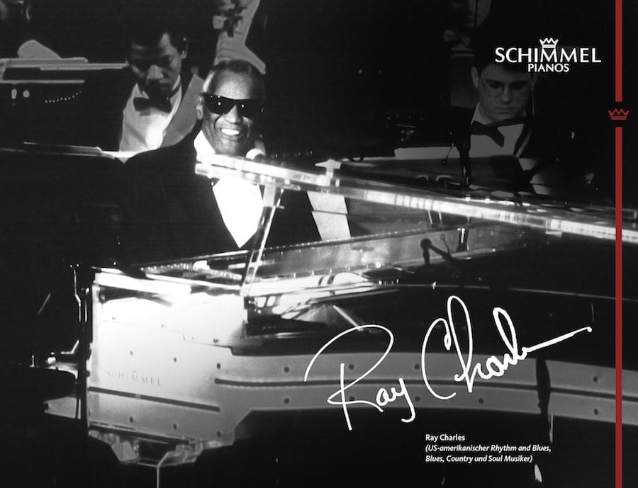 Ray Charles playing a Schimmel piano